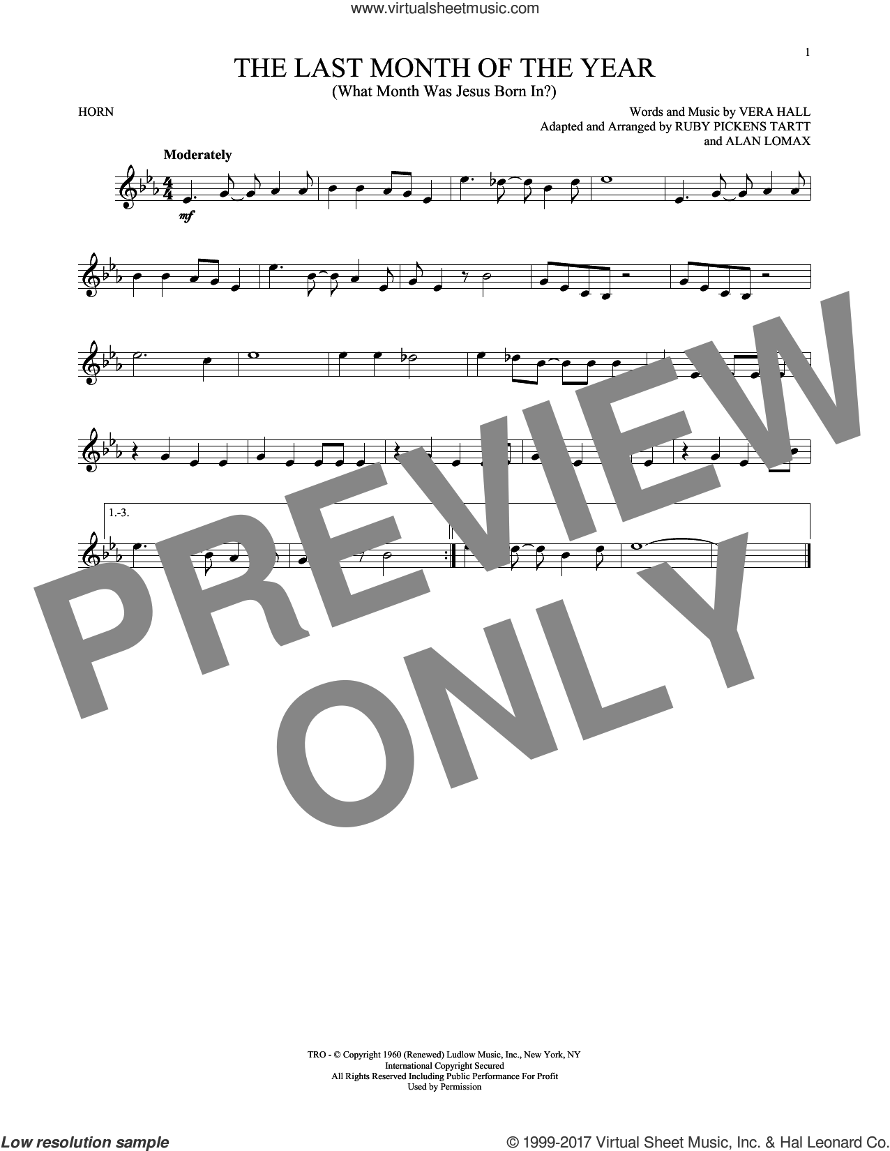 The Last Month Of The Year (What Month Was Jesus Born In?) sheet music for horn solo by Ruby Pickens Tartt, John A. Lomax and Vera Hall, intermediate skill level