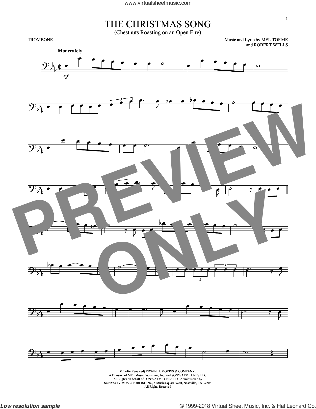 The Christmas Song (Chestnuts Roasting On An Open Fire) sheet music for trombone solo by Mel Torme and Robert Wells, intermediate skill level