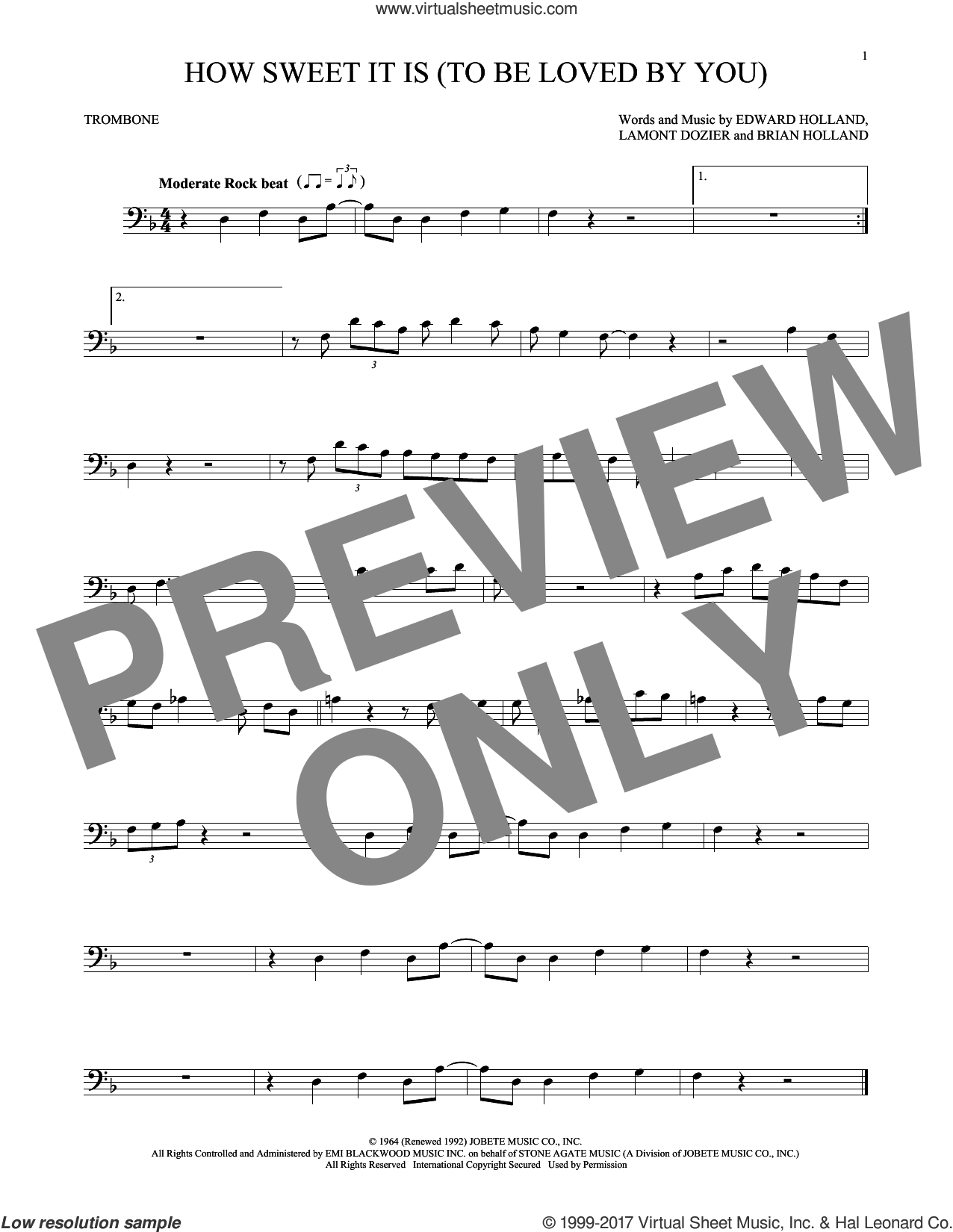 How Sweet It Is (To Be Loved By You) sheet music for trombone solo by James Taylor, Marvin Gaye, Brian Holland, Eddie Holland and Lamont Dozier, intermediate. Score Image Preview.