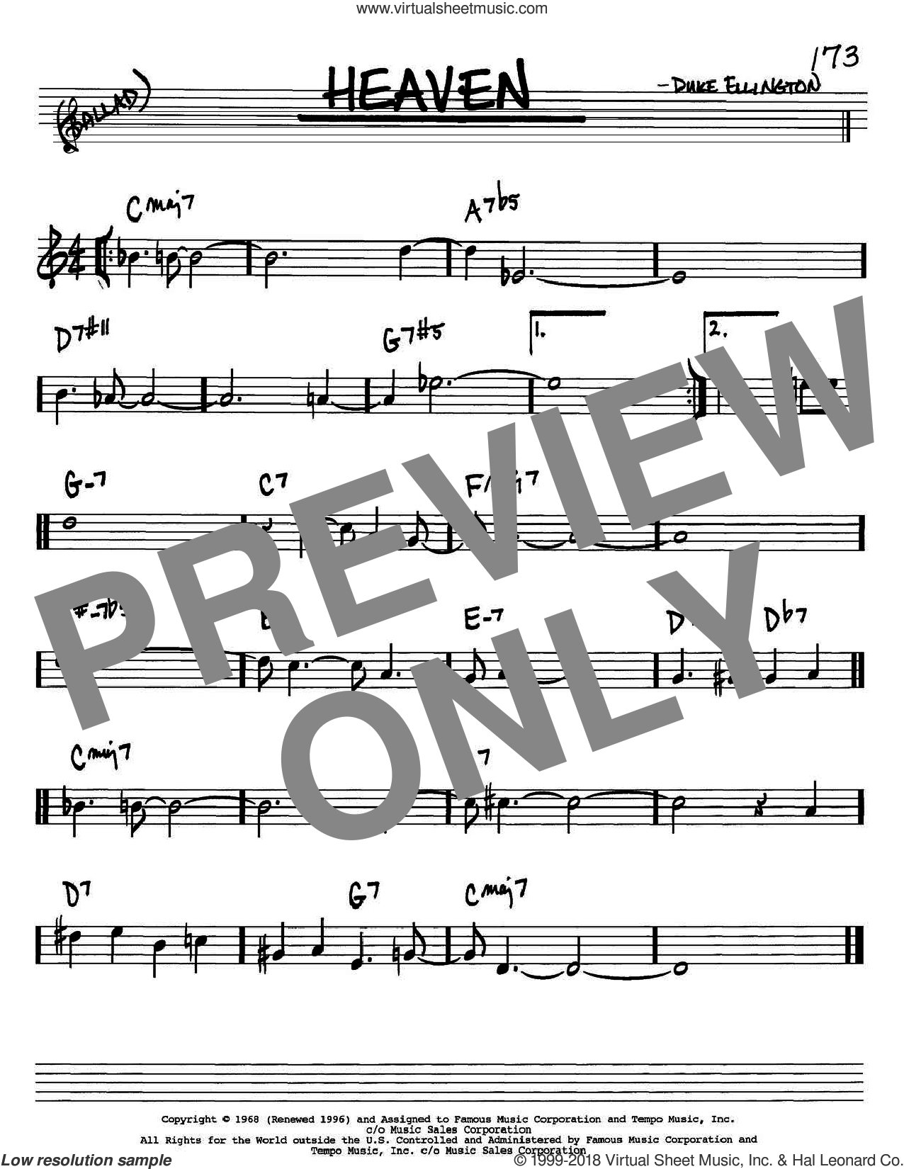 Heaven sheet music for voice and other instruments (Bb) by Duke Ellington