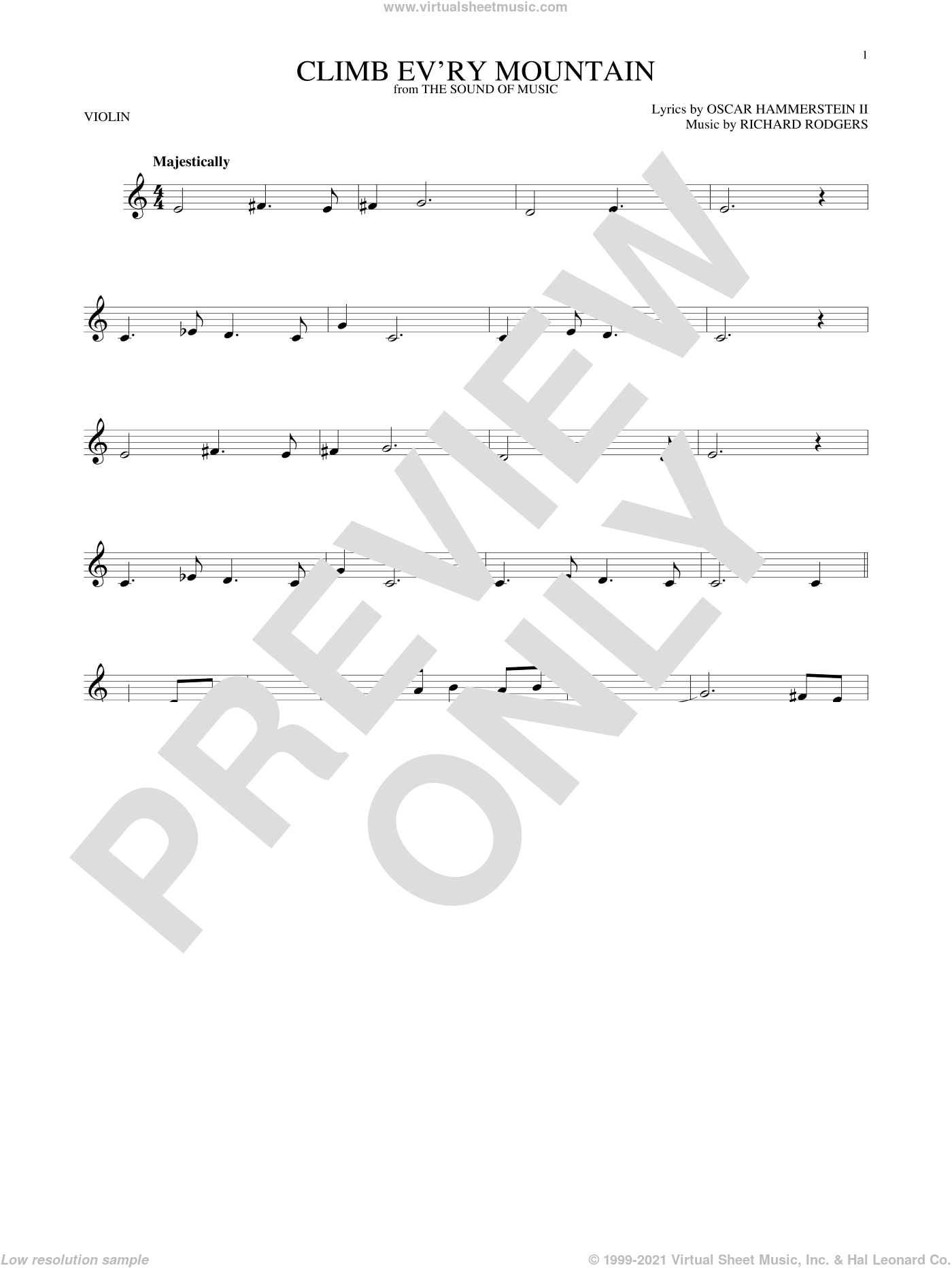 Climb Ev'ry Mountain sheet music for violin solo by Rodgers & Hammerstein, Oscar II Hammerstein and Richard Rodgers, intermediate skill level