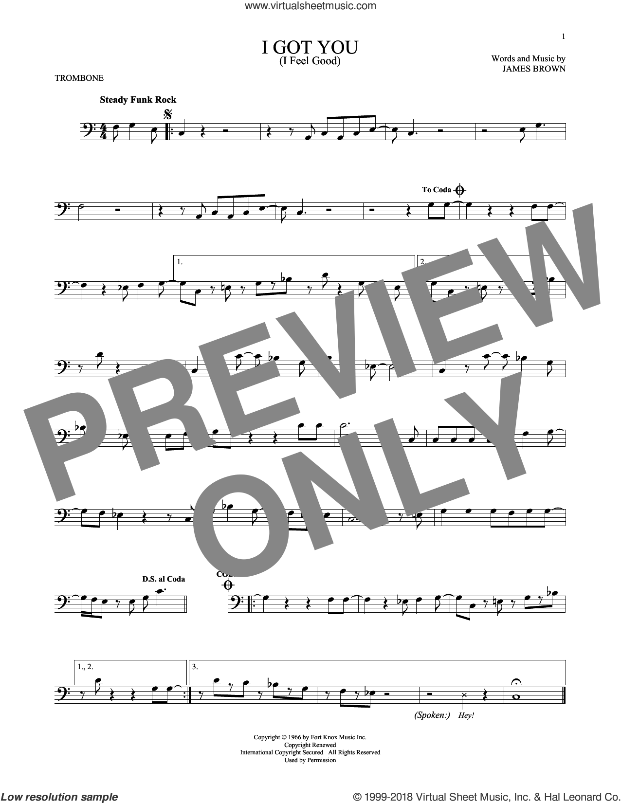 I Got You (I Feel Good) sheet music for trombone solo by James Brown, intermediate skill level