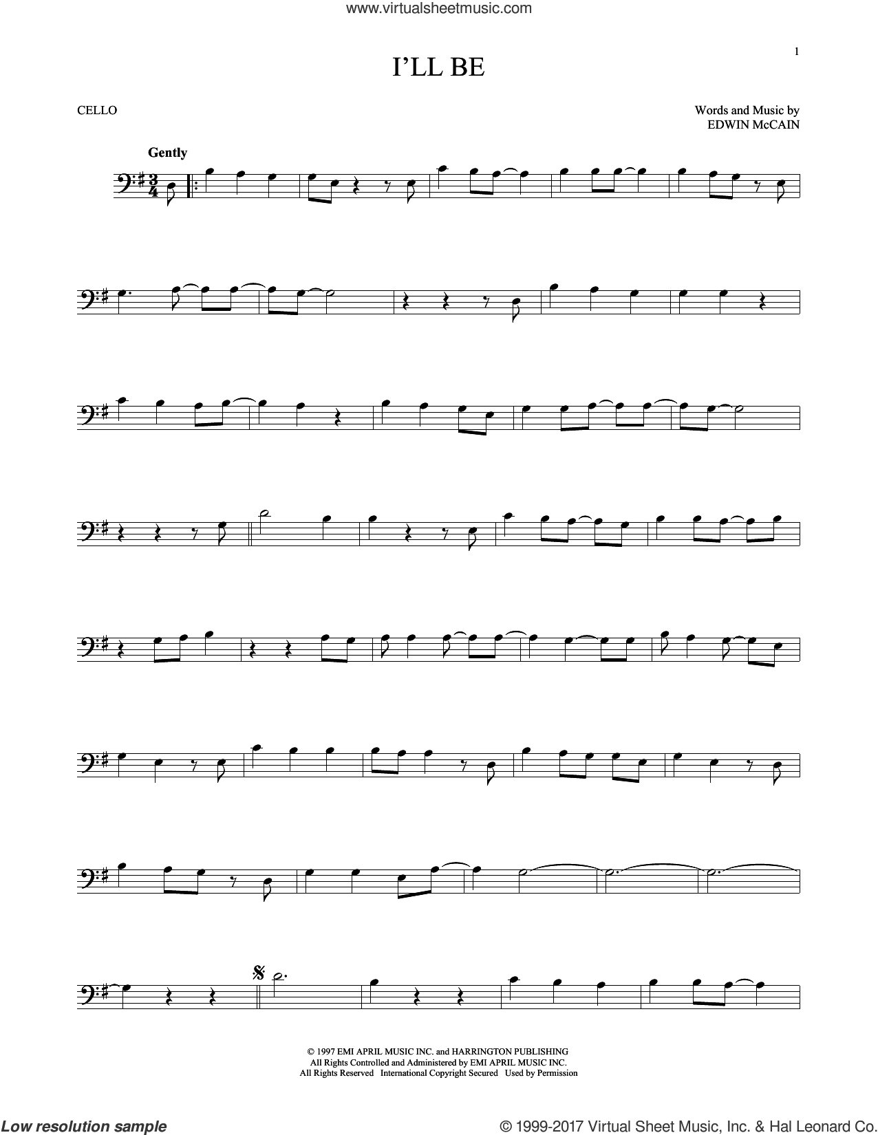 I'll Be sheet music for cello solo by Edwin McCain. Score Image Preview.