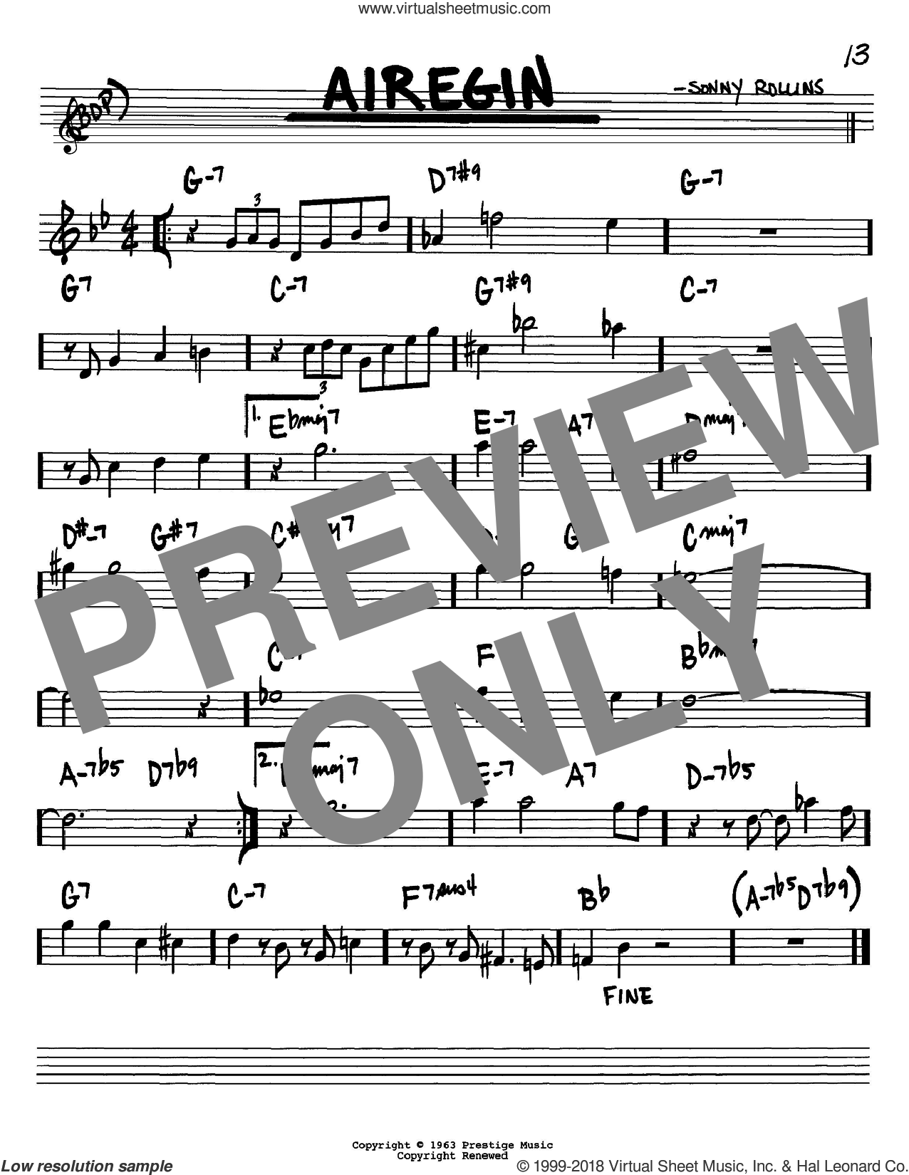 Airegin sheet music for voice and other instruments (Bb) by Sonny Rollins and John Coltrane. Score Image Preview.