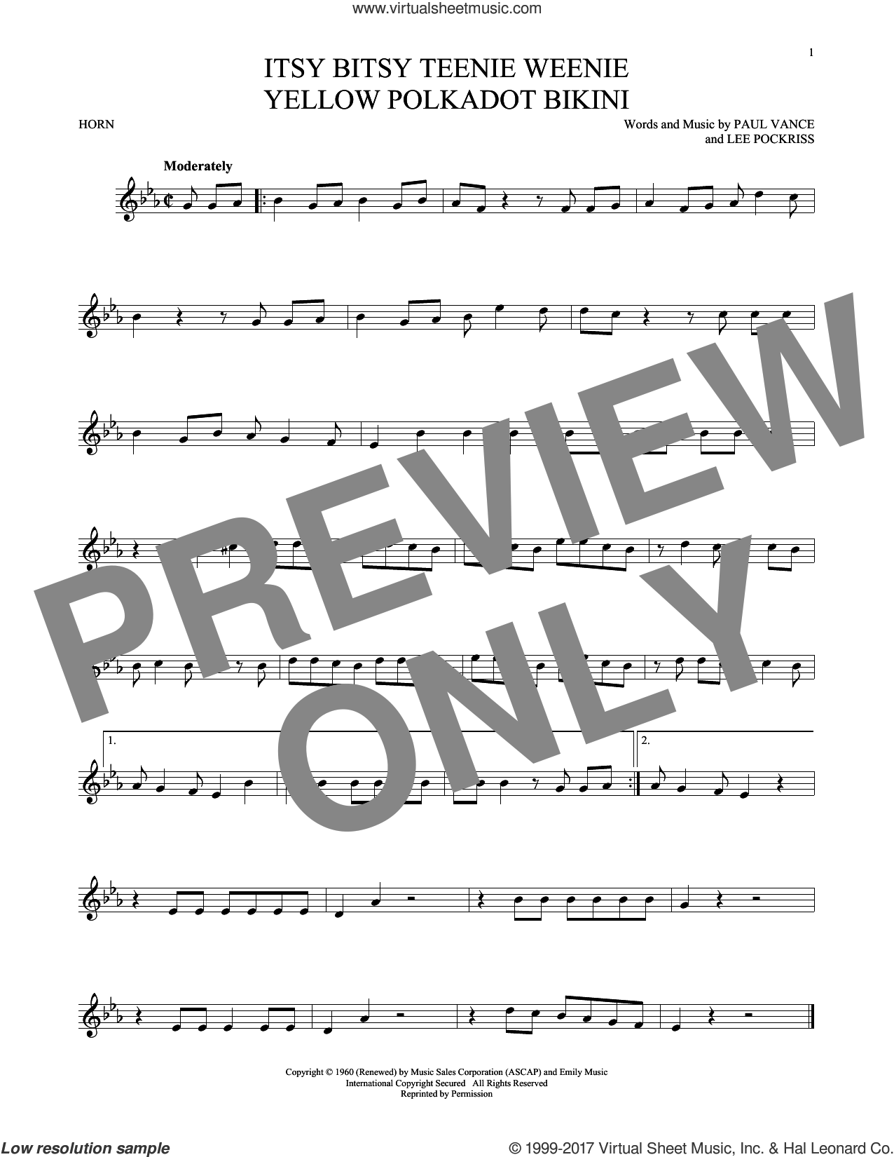 Itsy Bitsy Teenie Weenie Yellow Polkadot Bikini sheet music for horn solo by Brian Hyland, Lee Pockriss and Paul Vance. Score Image Preview.