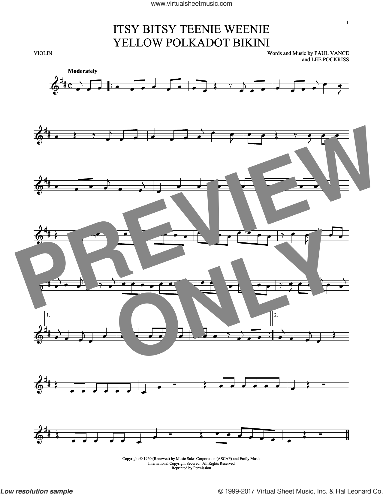 Itsy Bitsy Teenie Weenie Yellow Polkadot Bikini sheet music for violin solo by Brian Hyland, Lee Pockriss and Paul Vance, intermediate skill level