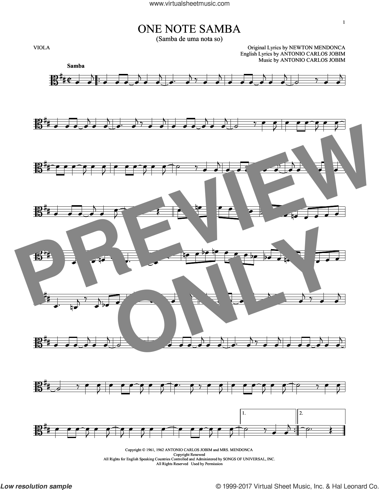 One Note Samba (Samba De Uma Nota So) sheet music for viola solo by Antonio Carlos Jobim. Score Image Preview.