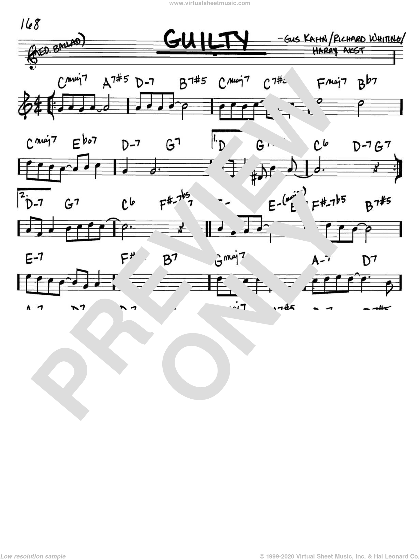 Guilty sheet music for voice and other instruments (Bb) by Richard A. Whiting, Gus Kahn and Harry Akst. Score Image Preview.