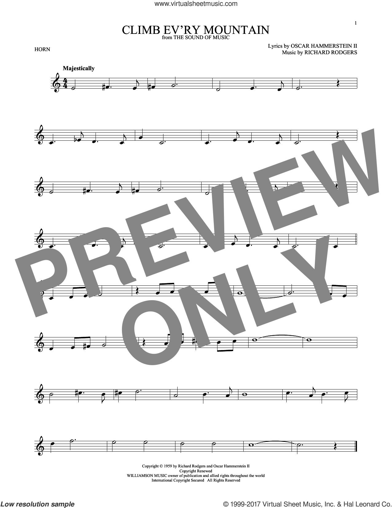 Climb Ev'ry Mountain sheet music for horn solo by Rodgers & Hammerstein, Oscar II Hammerstein and Richard Rodgers, intermediate skill level