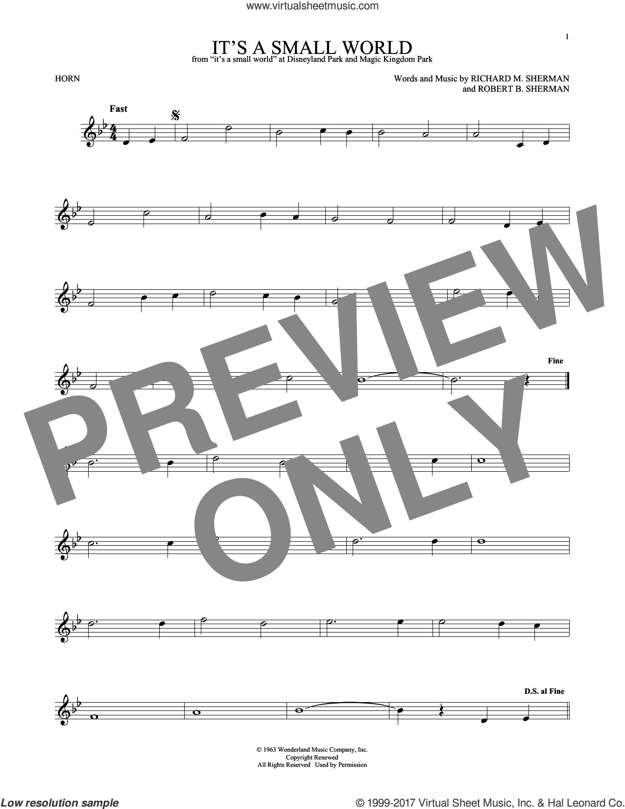 It's A Small World sheet music for horn solo by Richard M. Sherman and Robert B. Sherman, intermediate. Score Image Preview.