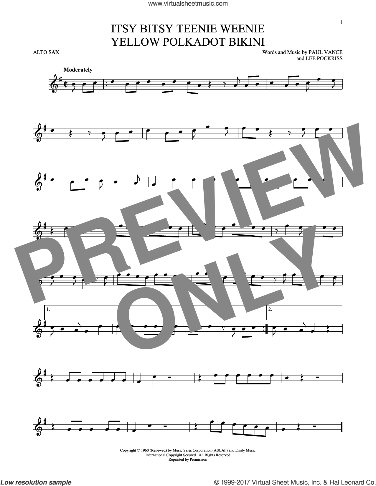 Itsy Bitsy Teenie Weenie Yellow Polkadot Bikini sheet music for alto saxophone solo by Brian Hyland, Lee Pockriss and Paul Vance, intermediate skill level