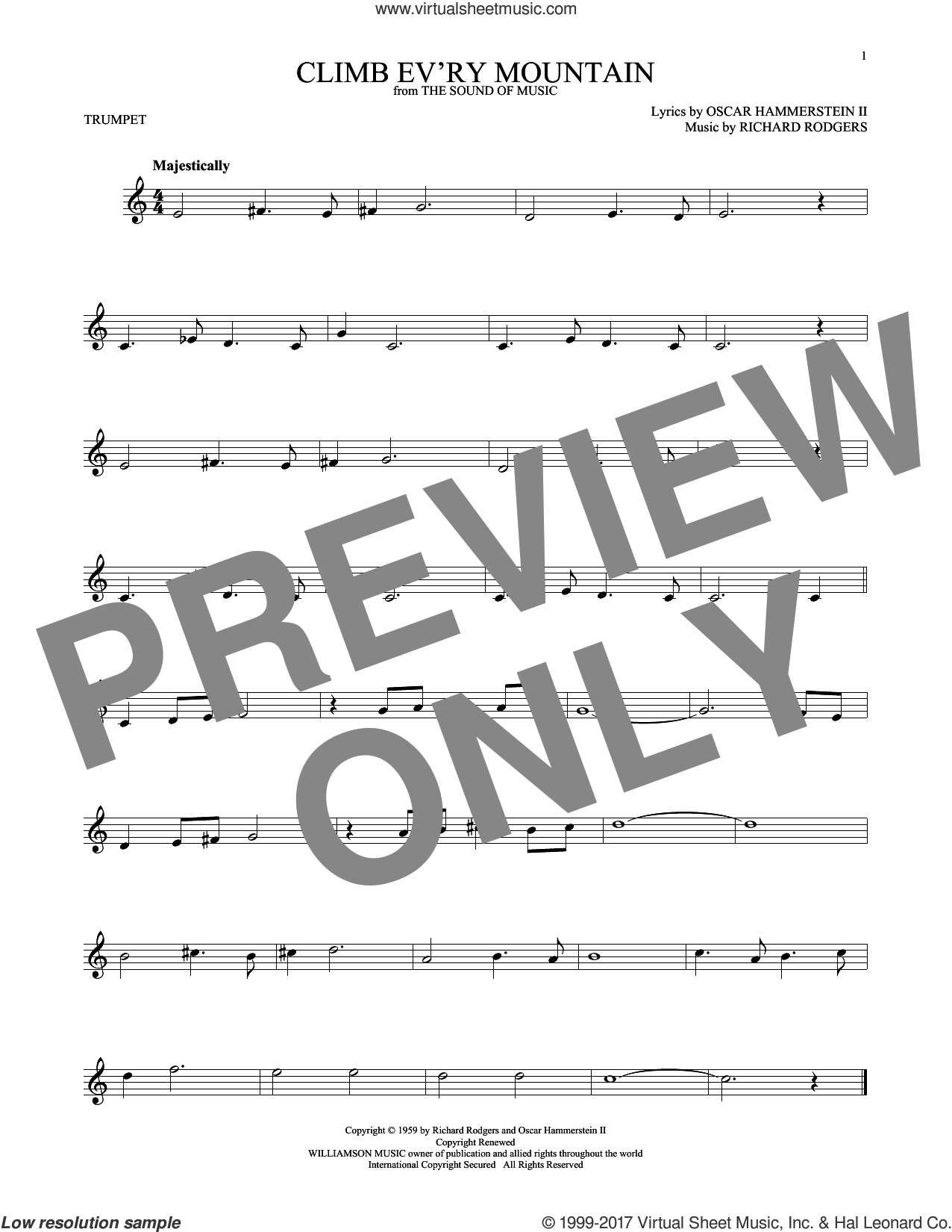 Climb Ev'ry Mountain sheet music for trumpet solo by Rodgers & Hammerstein, Oscar II Hammerstein and Richard Rodgers, intermediate. Score Image Preview.