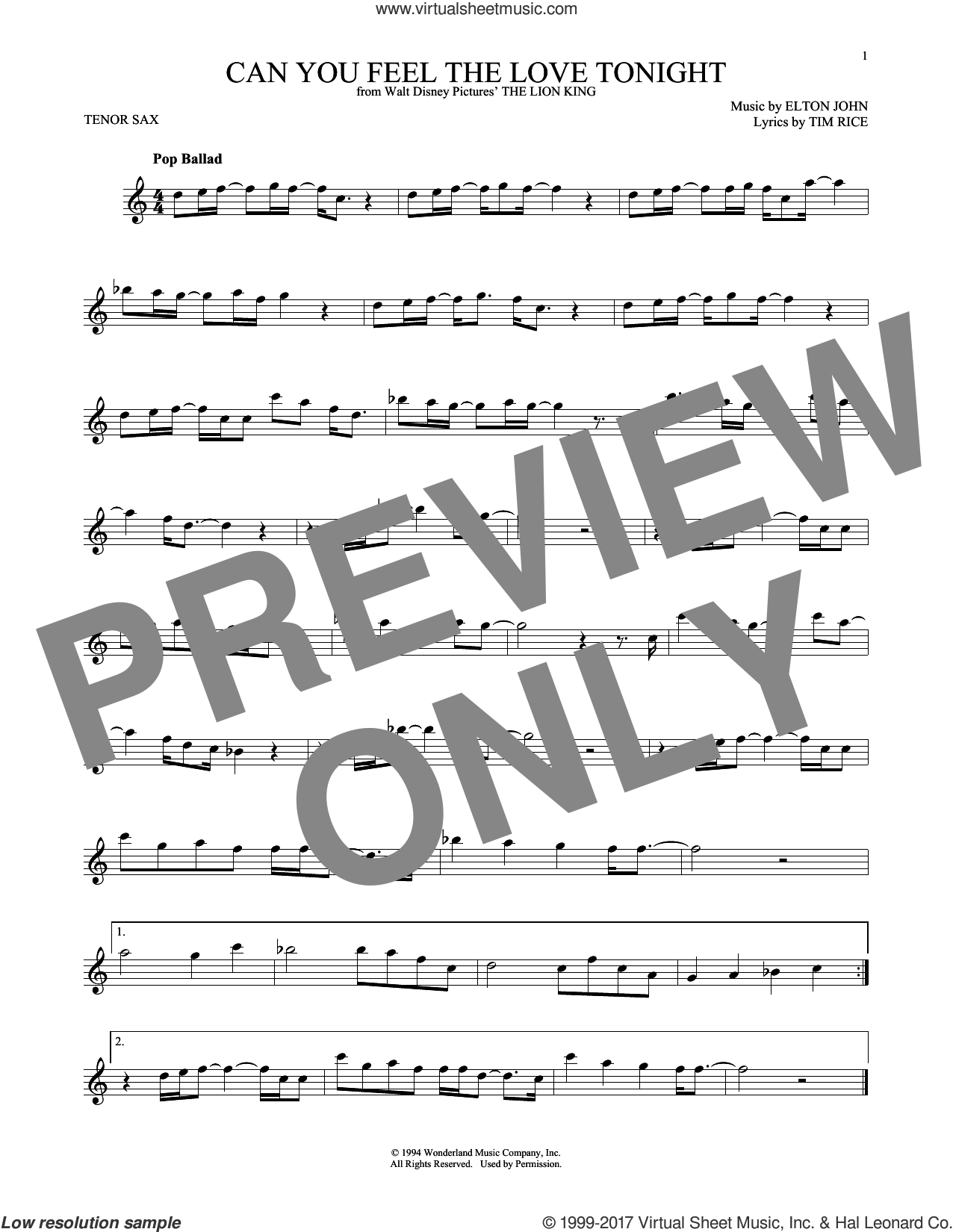 Can You Feel The Love Tonight sheet music for tenor saxophone solo by Elton John and Tim Rice, intermediate skill level