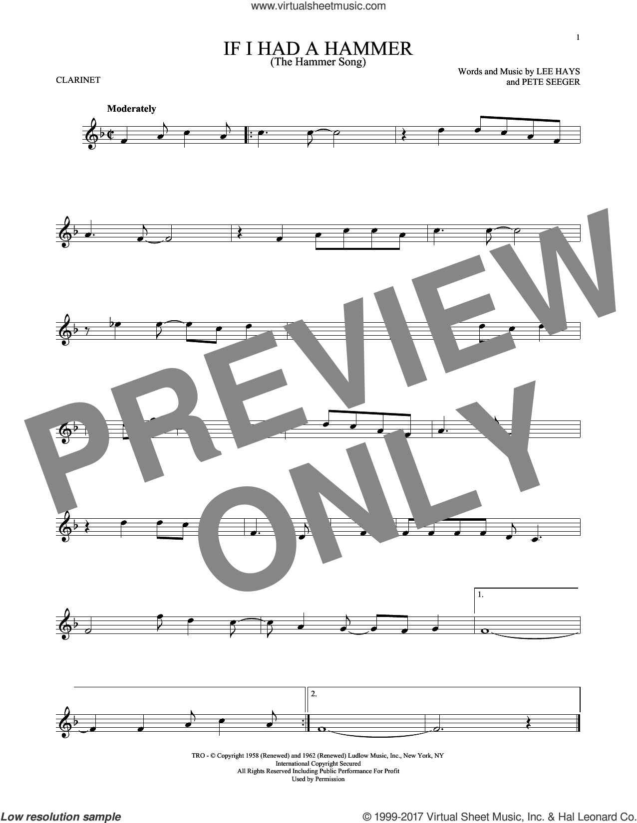 If I Had A Hammer (The Hammer Song) sheet music for clarinet solo by Peter, Paul & Mary, Lee Hays and Pete Seeger, intermediate skill level