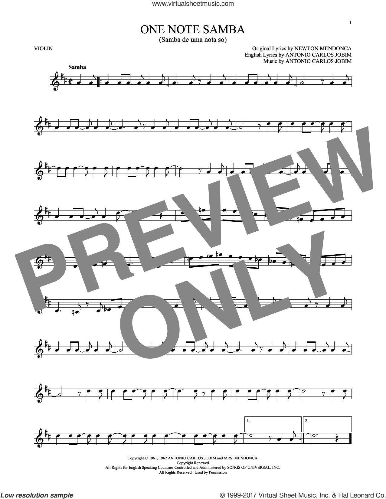 One Note Samba (Samba De Uma Nota So) sheet music for violin solo by Antonio Carlos Jobim, Pat Thomas and Newton Mendonca, intermediate skill level