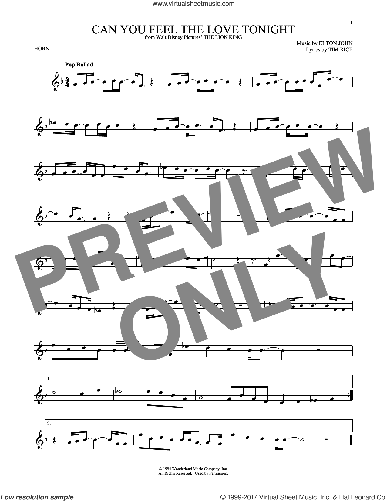 Can You Feel The Love Tonight sheet music for horn solo by Elton John and Tim Rice, intermediate skill level