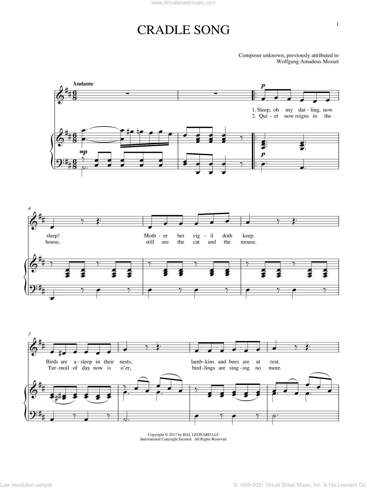 Cradle Song sheet music for voice and piano by Wolfgang Amadeus Mozart and Joan Frey Boytim, intermediate skill level