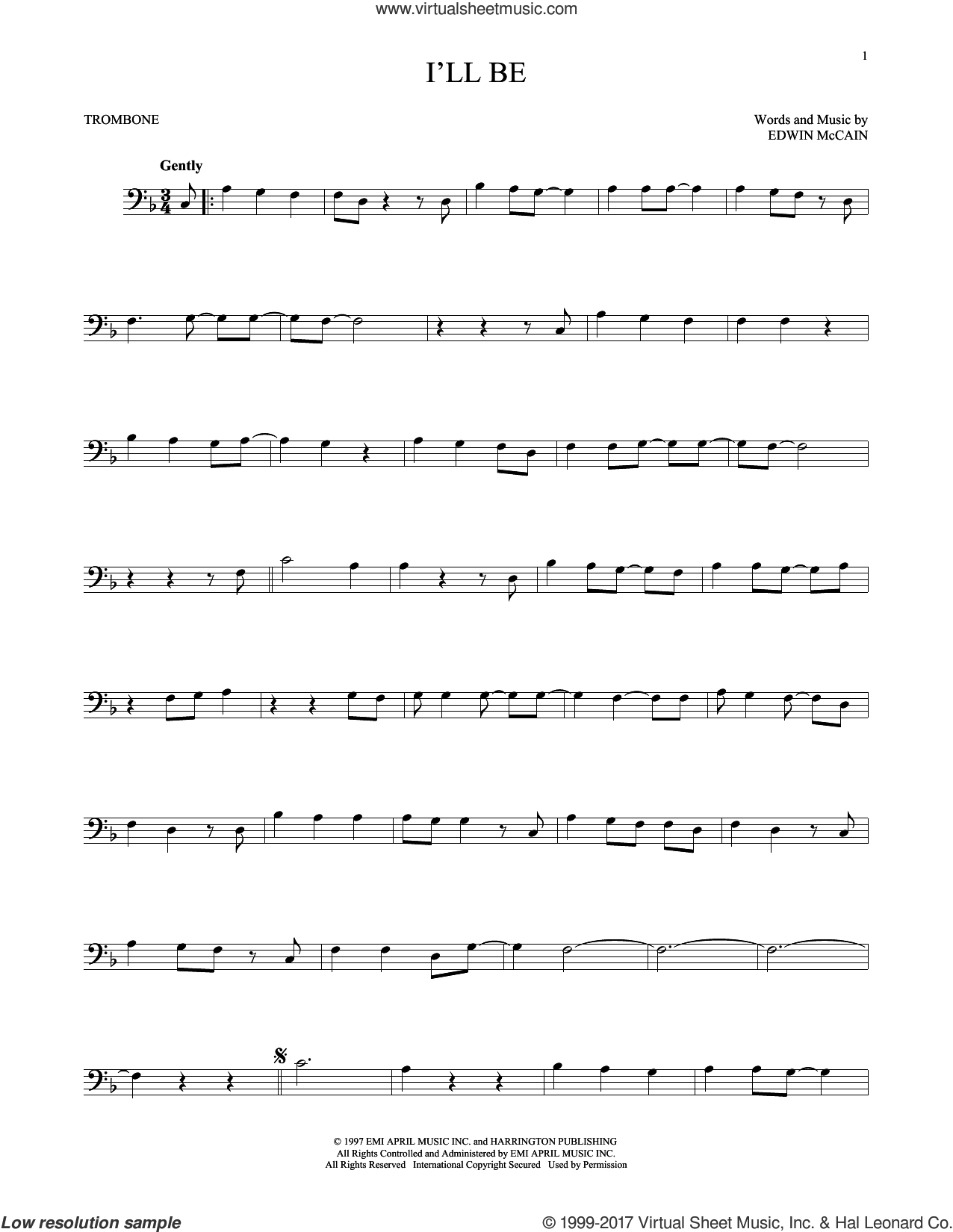 I'll Be sheet music for trombone solo by Edwin McCain, wedding score, intermediate skill level
