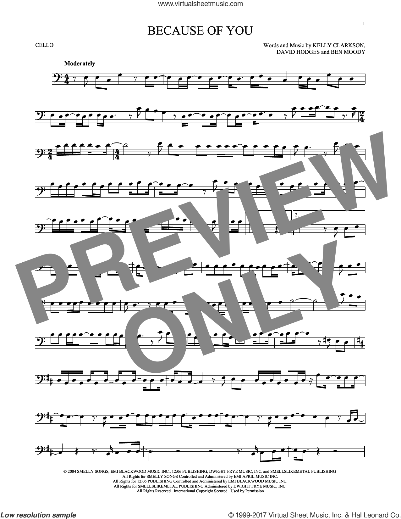 Because Of You sheet music for cello solo by Kelly Clarkson, Ben Moody and David Hodges, intermediate. Score Image Preview.