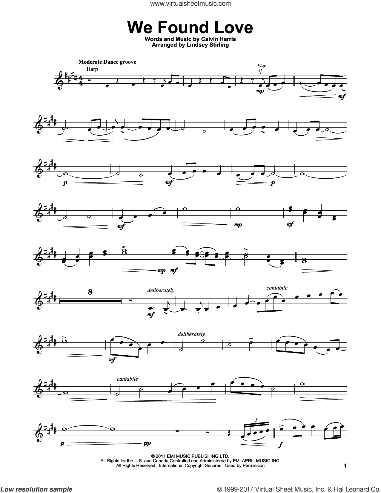 We Found Love sheet music for violin solo by Lindsey Stirling, Rihanna featuring Calvin Harris and Calvin Harris, wedding score, intermediate