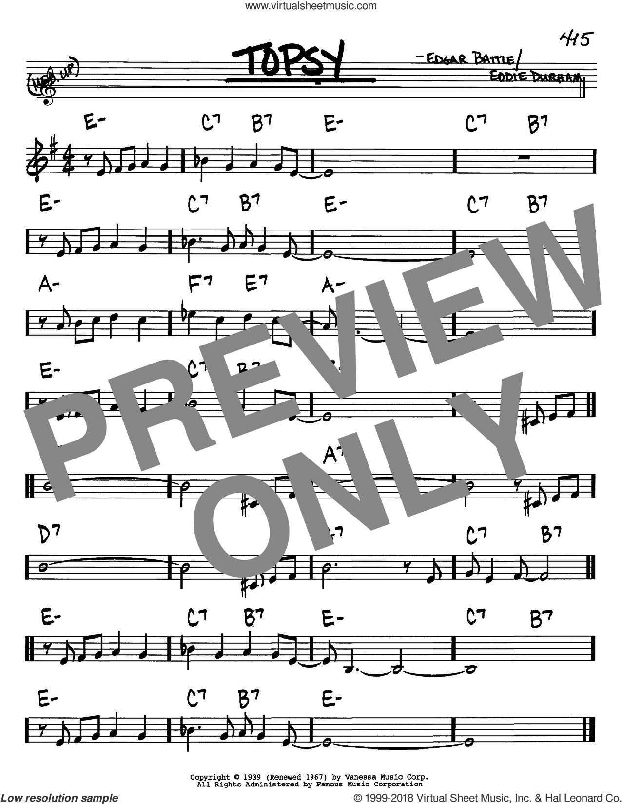 Topsy sheet music for voice and other instruments (Bb) by Edgar Battle, Cozy Cole and Eddie Durham. Score Image Preview.