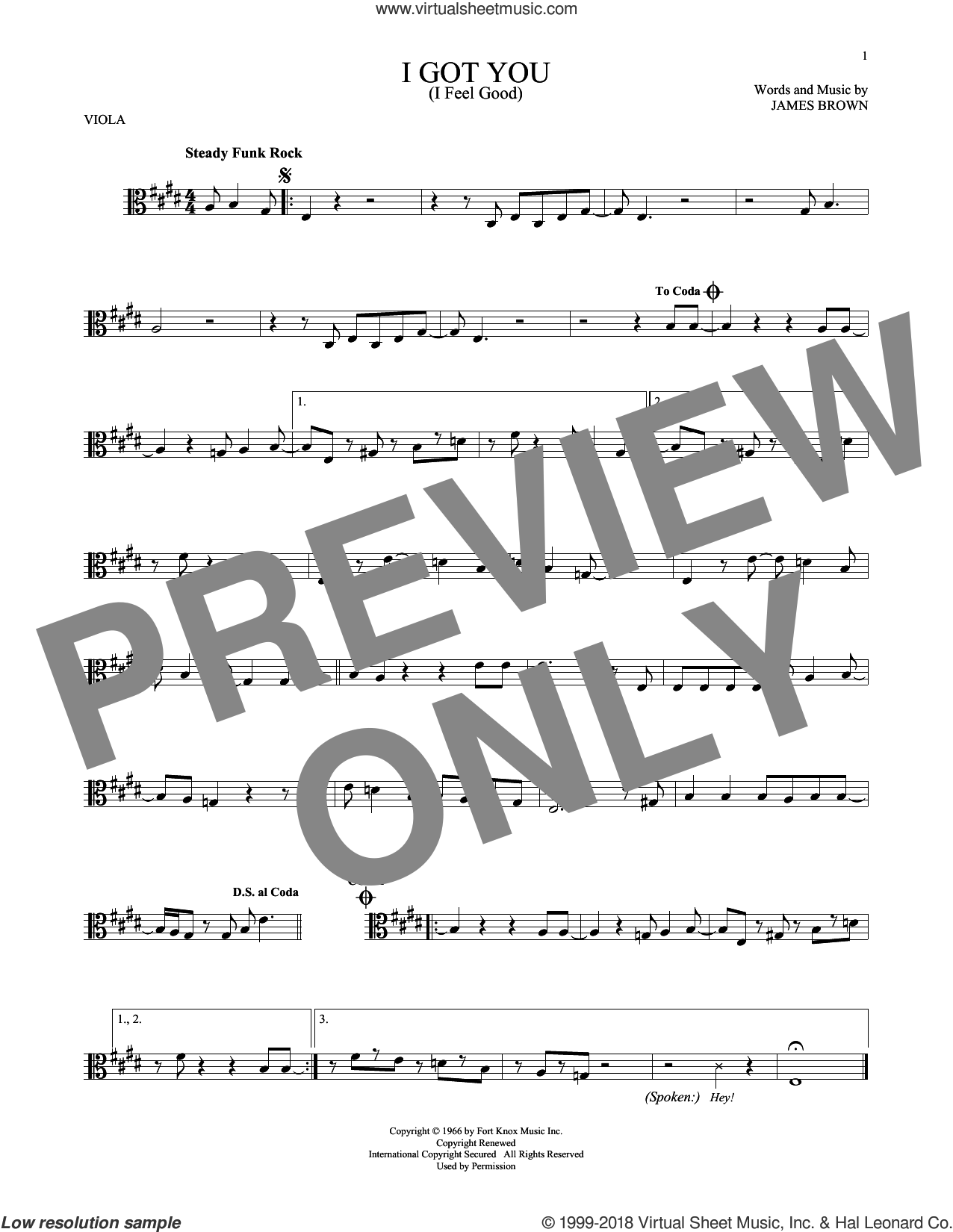 I Got You (I Feel Good) sheet music for viola solo by James Brown, intermediate skill level