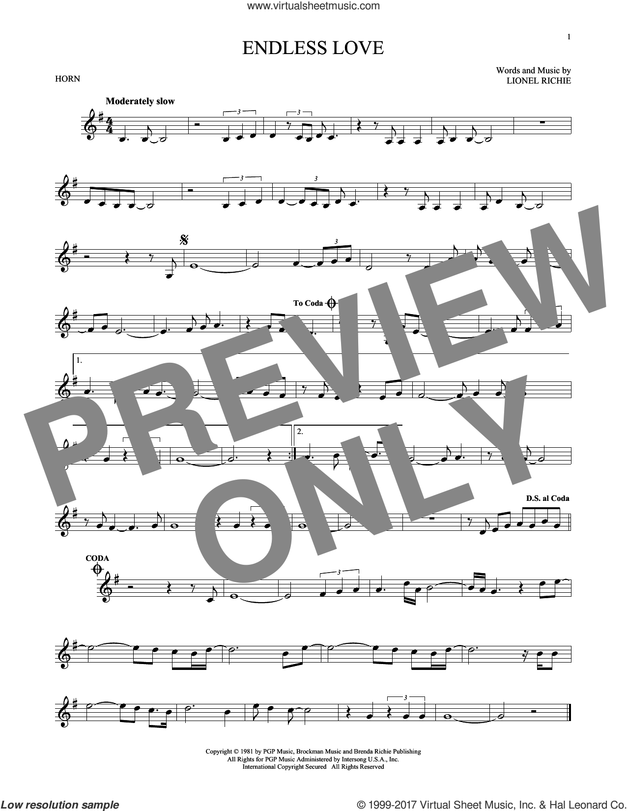Endless Love sheet music for horn solo by Diana Ross & Lionel Richie and Lionel Richie, intermediate skill level