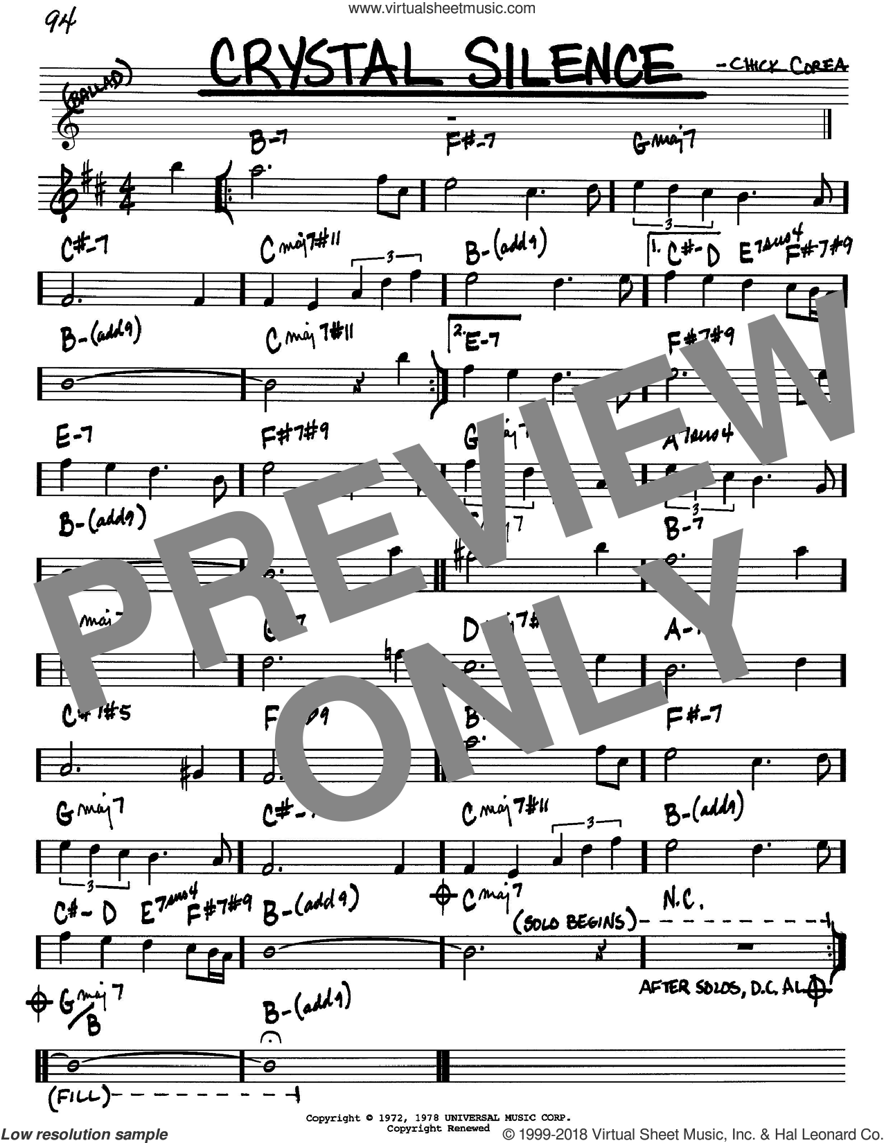 Crystal Silence sheet music for voice and other instruments (in Bb) by Chick Corea and Neville Potter, intermediate