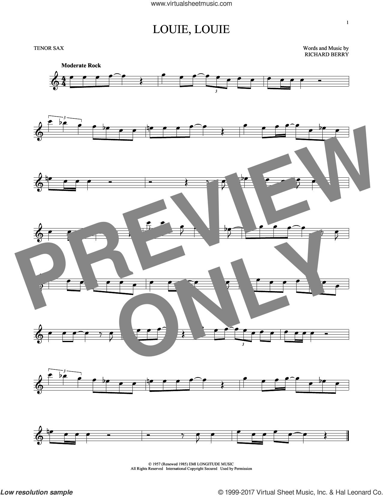Louie, Louie sheet music for tenor saxophone solo by The Kingsmen and Richard Berry, intermediate skill level