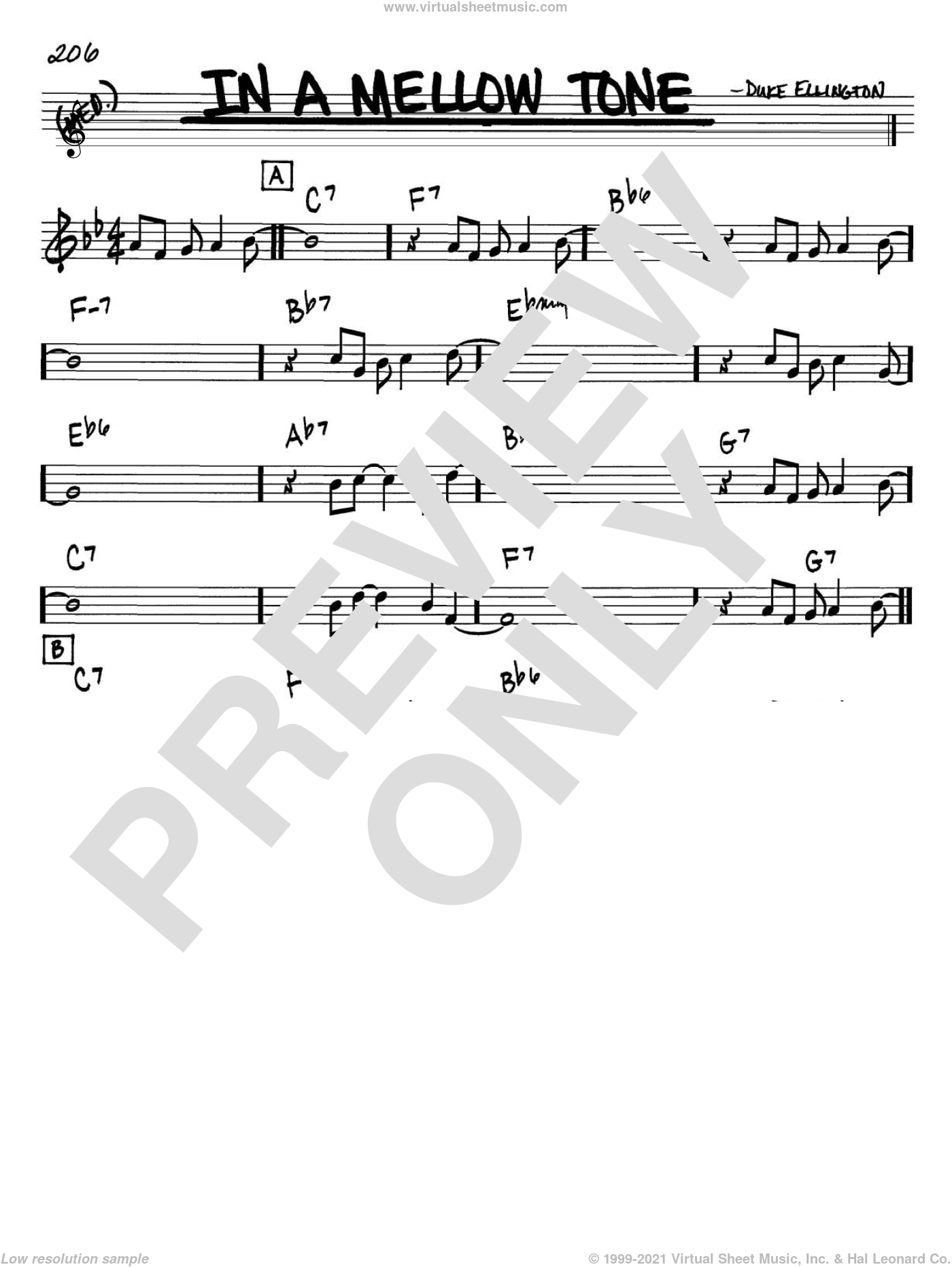 In A Mellow Tone sheet music for voice and other instruments (Bb) by Milt Gabler and Duke Ellington. Score Image Preview.
