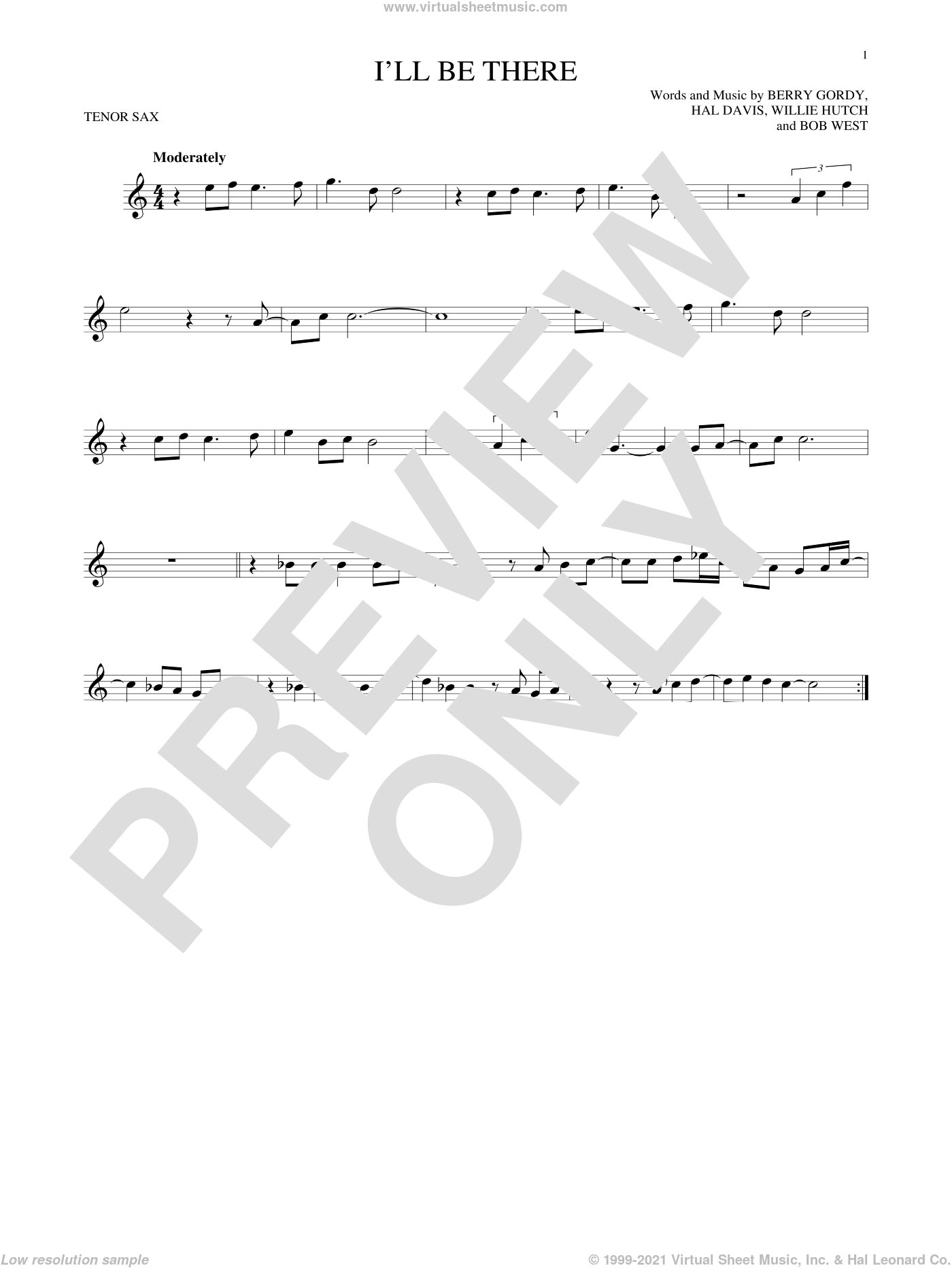 I'll Be There sheet music for tenor saxophone solo by The Jackson 5, Berry Gordy Jr., Bob West and Hal Davis, intermediate skill level