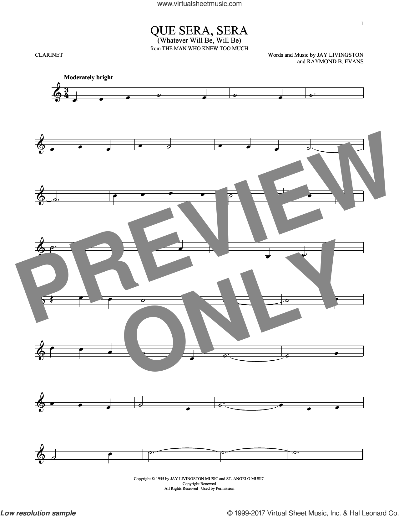 Que Sera, Sera (Whatever Will Be, Will Be) sheet music for clarinet solo by Doris Day, Jay Livingston and Raymond B. Evans, intermediate skill level