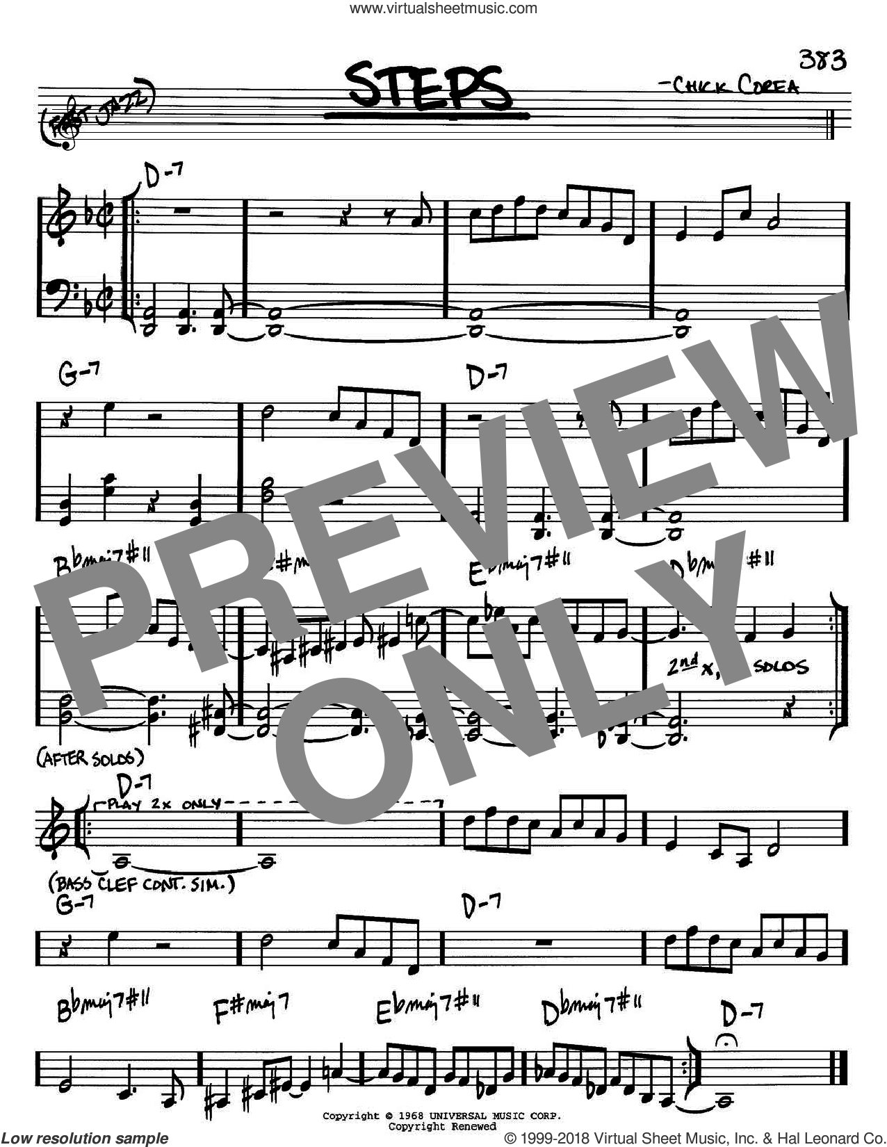 Steps sheet music for voice and other instruments (in Bb) by Chick Corea, intermediate