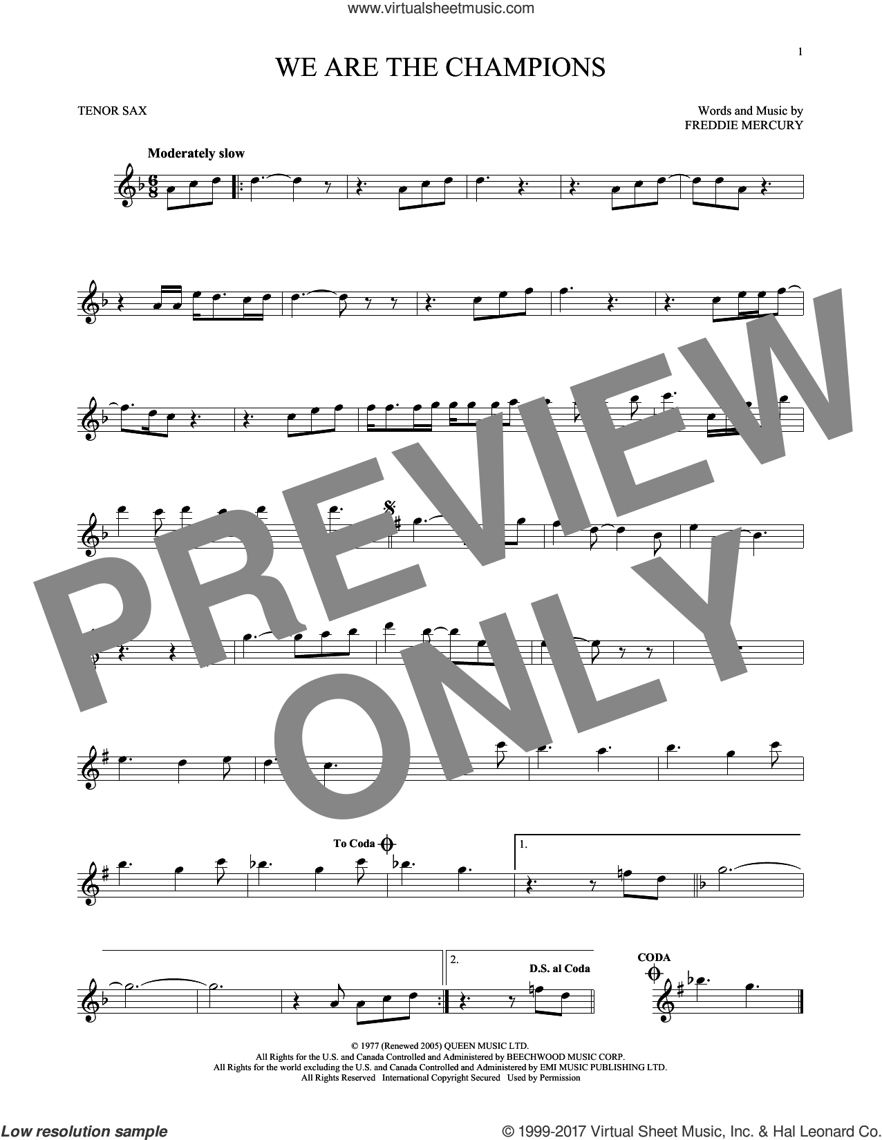 We Are The Champions sheet music for tenor saxophone solo by Queen and Freddie Mercury. Score Image Preview.