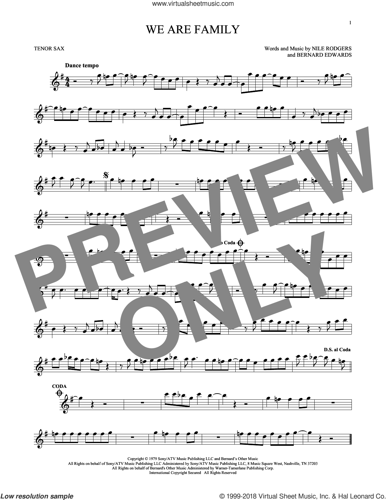 We Are Family sheet music for tenor saxophone solo by Sister Sledge, Bernard Edwards and Nile Rodgers, wedding score, intermediate skill level