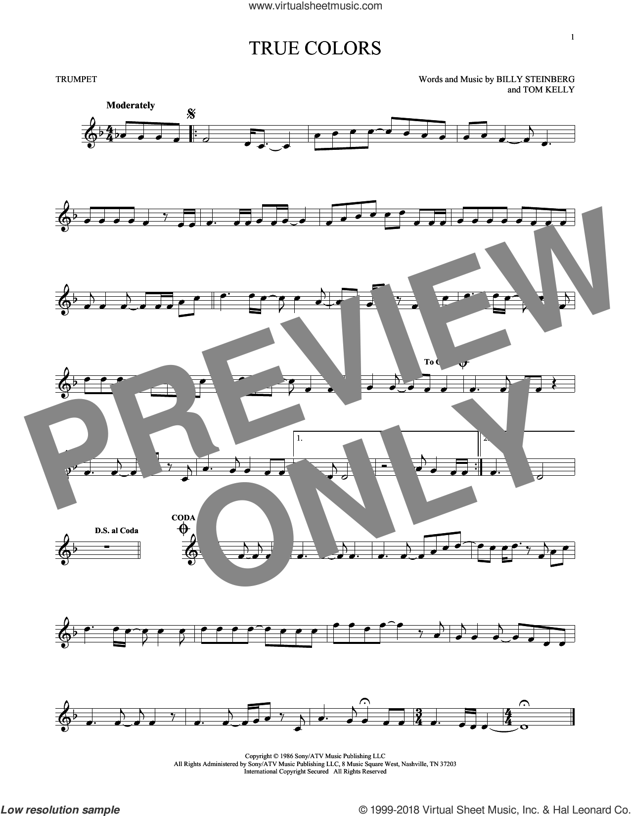 True Colors sheet music for trumpet solo by Cyndi Lauper, Billy Steinberg and Tom Kelly, intermediate skill level