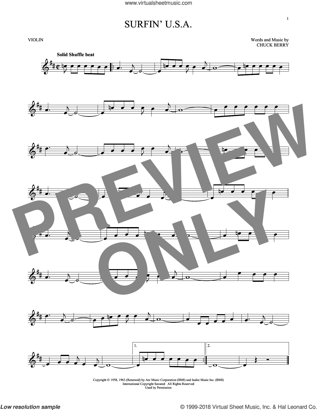 Surfin' U.S.A. sheet music for violin solo by The Beach Boys and Chuck Berry, intermediate skill level