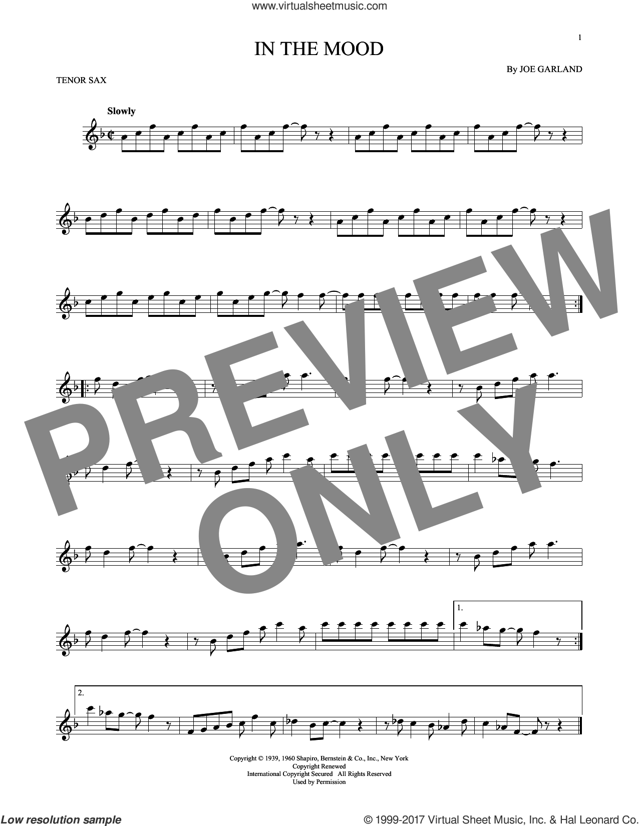 In The Mood sheet music for tenor saxophone solo by Joe Garland and Glenn Miller & His Orchestra, intermediate skill level
