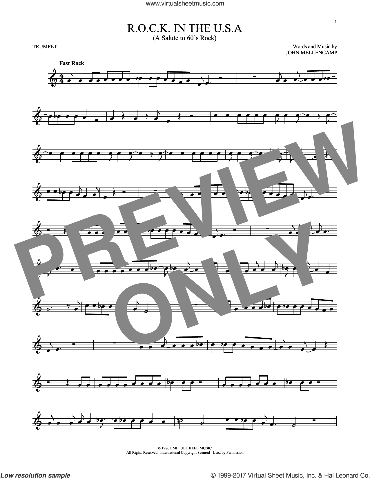 R.O.C.K. In The U.S.A. (A Salute To 60's Rock) sheet music for trumpet solo by John Mellencamp, intermediate. Score Image Preview.