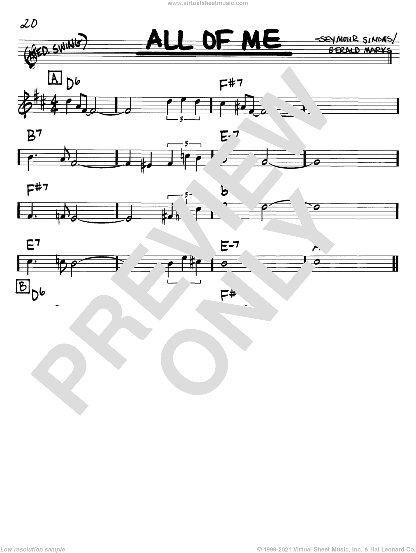All Of Me sheet music for voice and other instruments (in Bb) by Louis Armstrong, Frank Sinatra, Willie Nelson, Gerald Marks and Seymour Simons, intermediate skill level