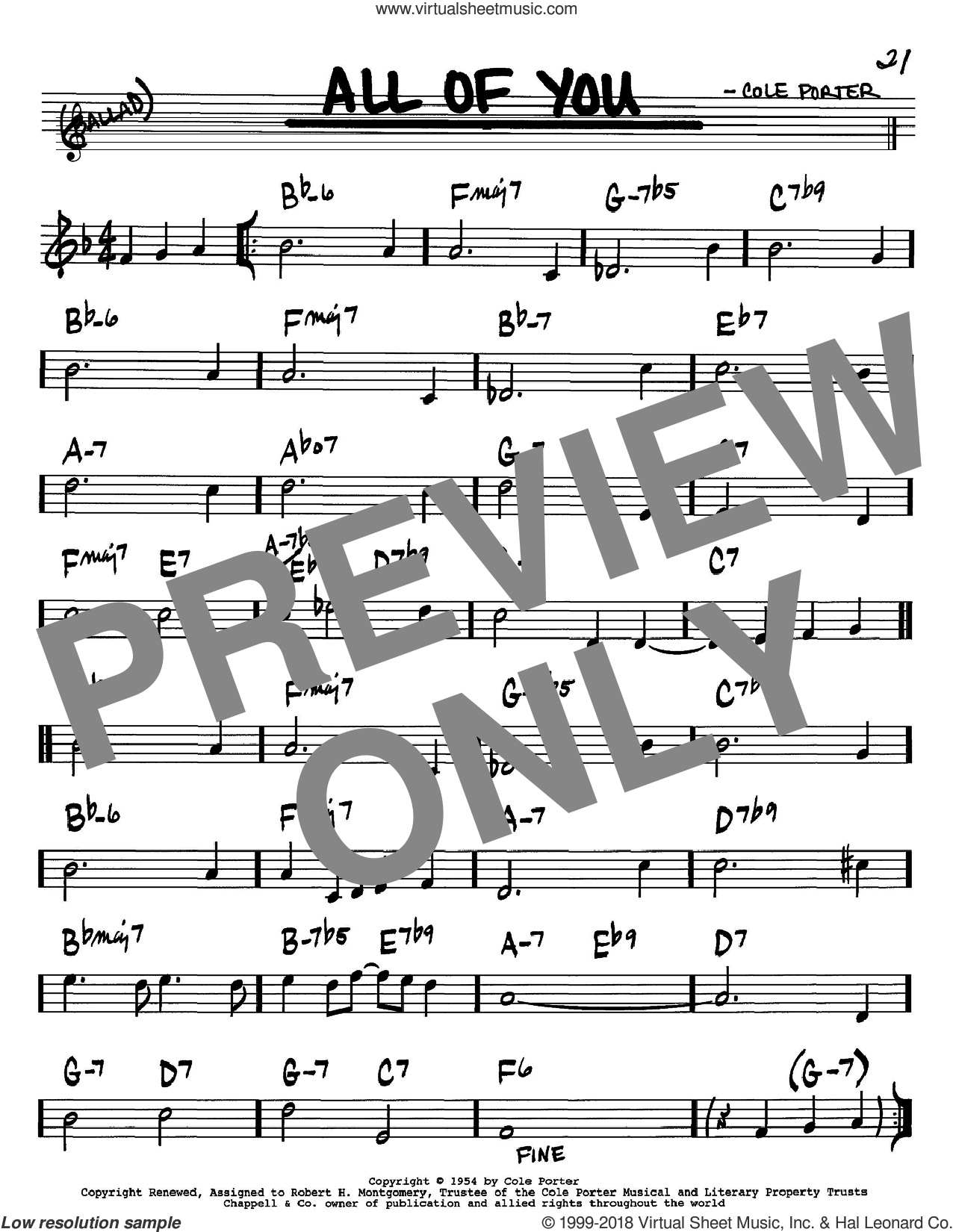 All Of You sheet music for voice and other instruments (Bb) by Cole Porter