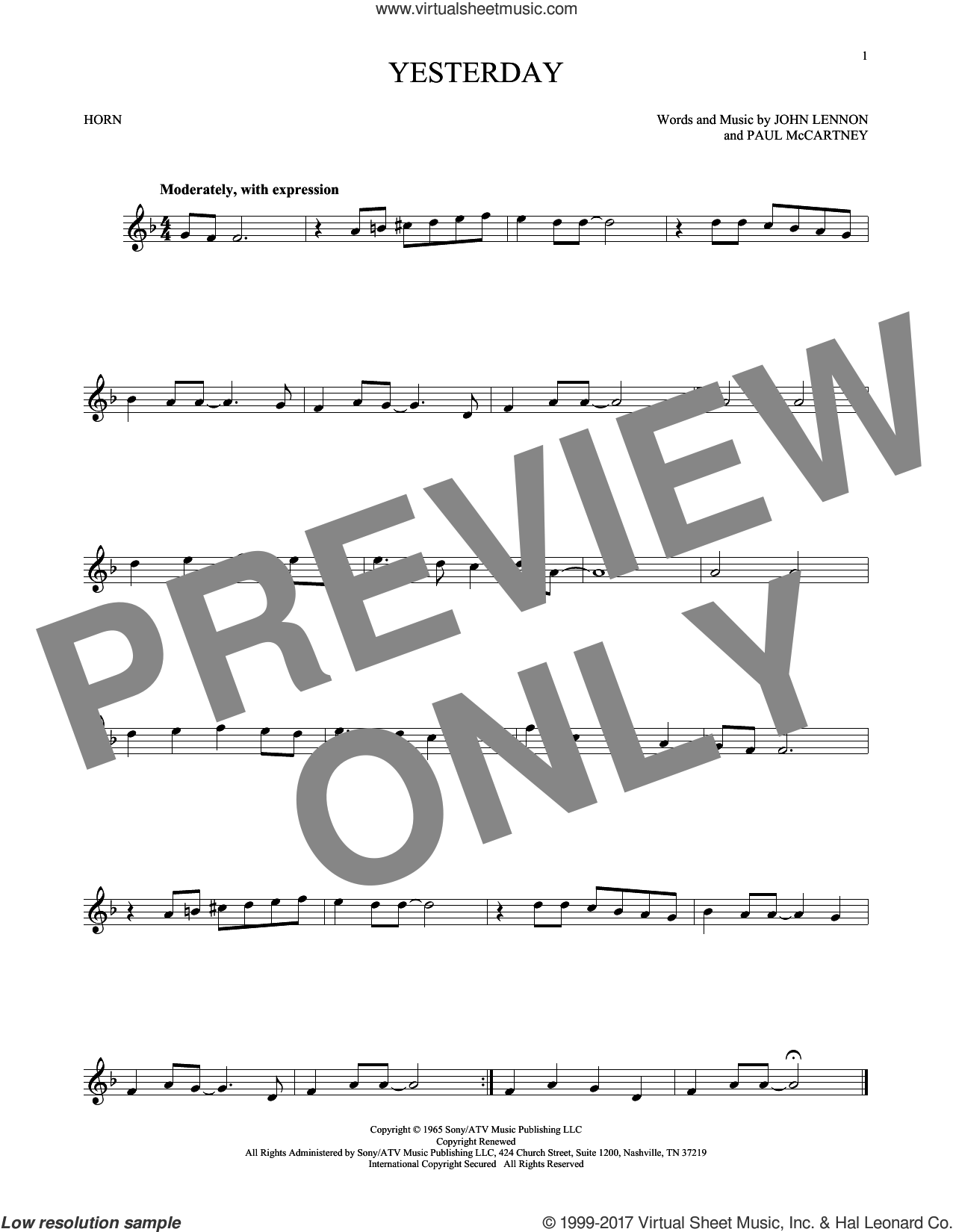Yesterday sheet music for horn solo by The Beatles, John Lennon and Paul McCartney, intermediate skill level