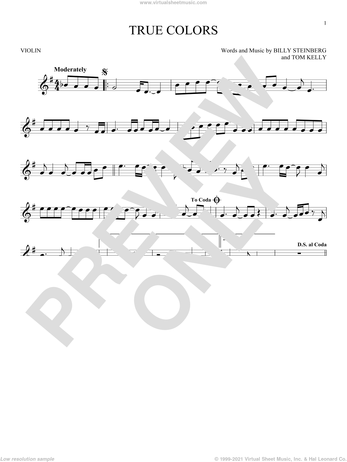 True Colors sheet music for violin solo by Cyndi Lauper, Billy Steinberg and Tom Kelly, intermediate skill level