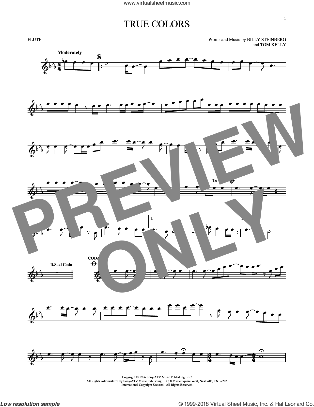 True Colors sheet music for flute solo by Cyndi Lauper, Billy Steinberg and Tom Kelly, intermediate skill level