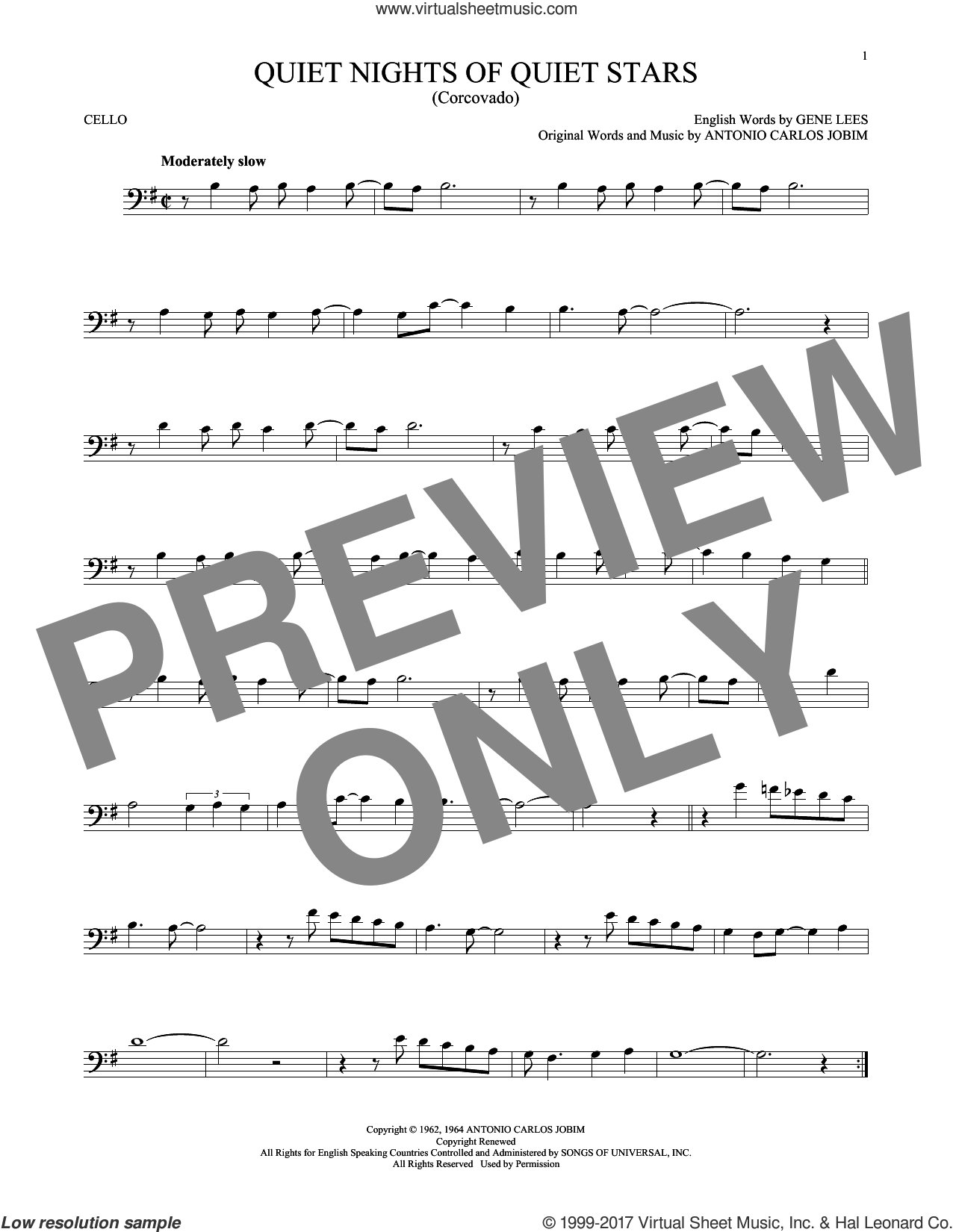 Quiet Nights Of Quiet Stars (Corcovado) sheet music for cello solo by Antonio Carlos Jobim, Andy Williams and Eugene John Lees, intermediate skill level