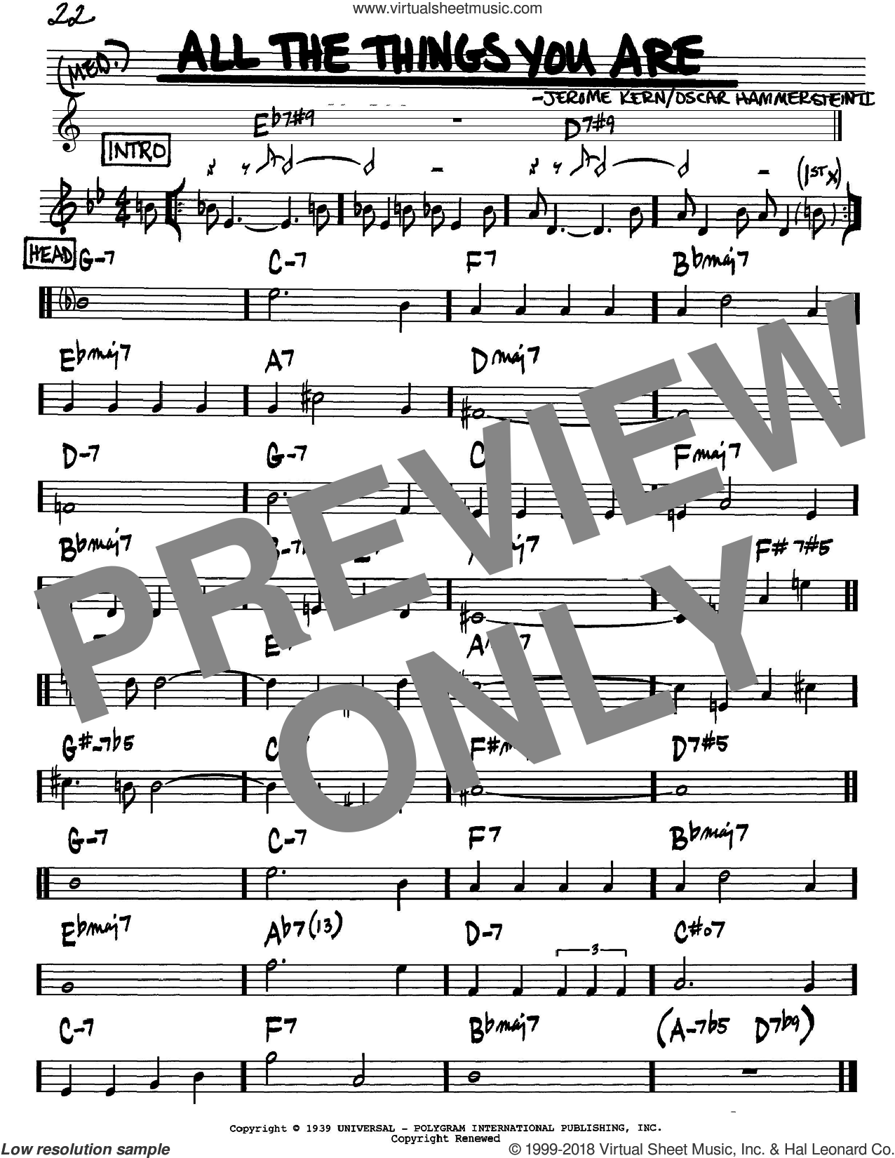 All The Things You Are sheet music for voice and other instruments (Bb) by Jerome Kern and Oscar II Hammerstein. Score Image Preview.