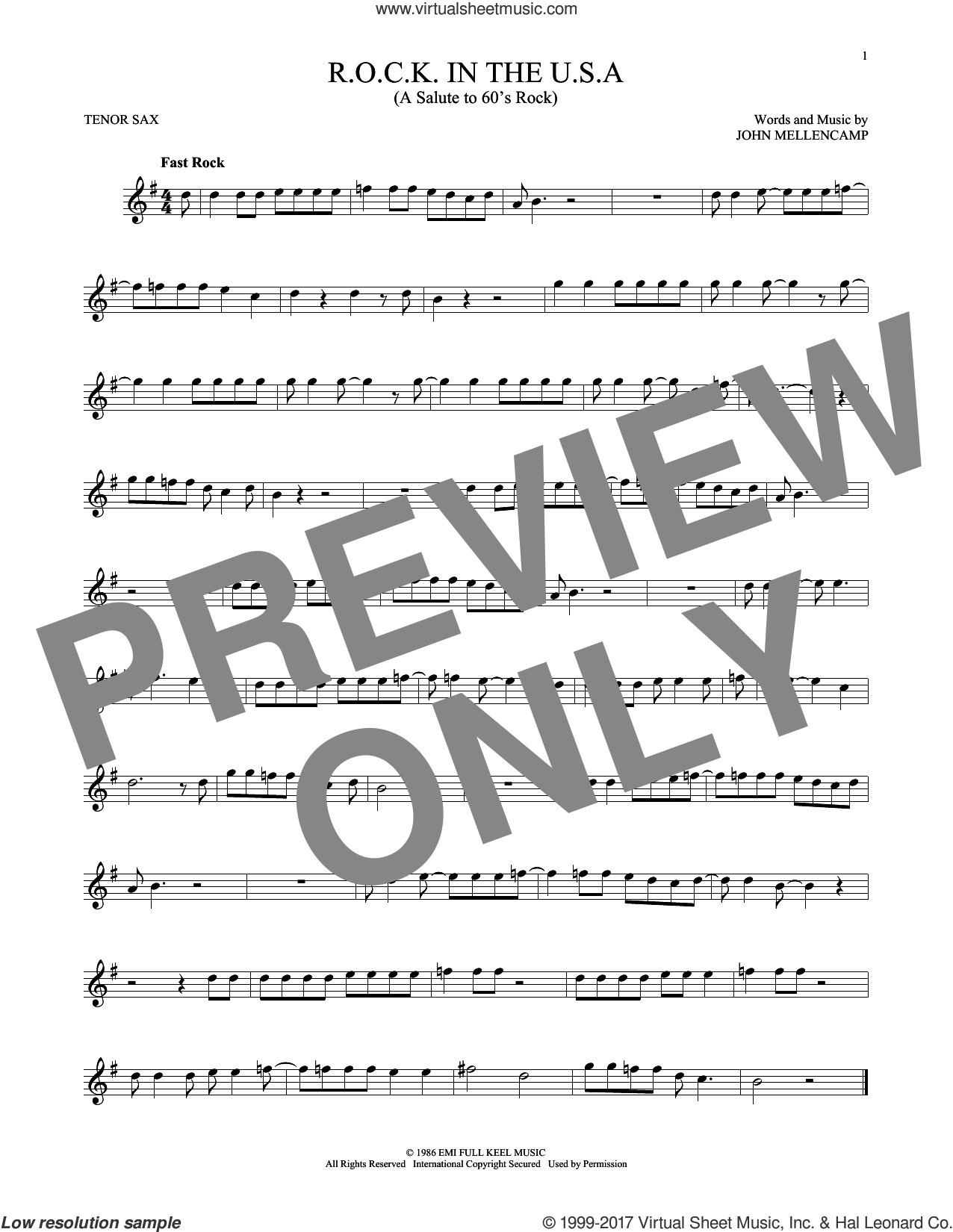 R.O.C.K. In The U.S.A. (A Salute To 60's Rock) sheet music for tenor saxophone solo by John Mellencamp. Score Image Preview.