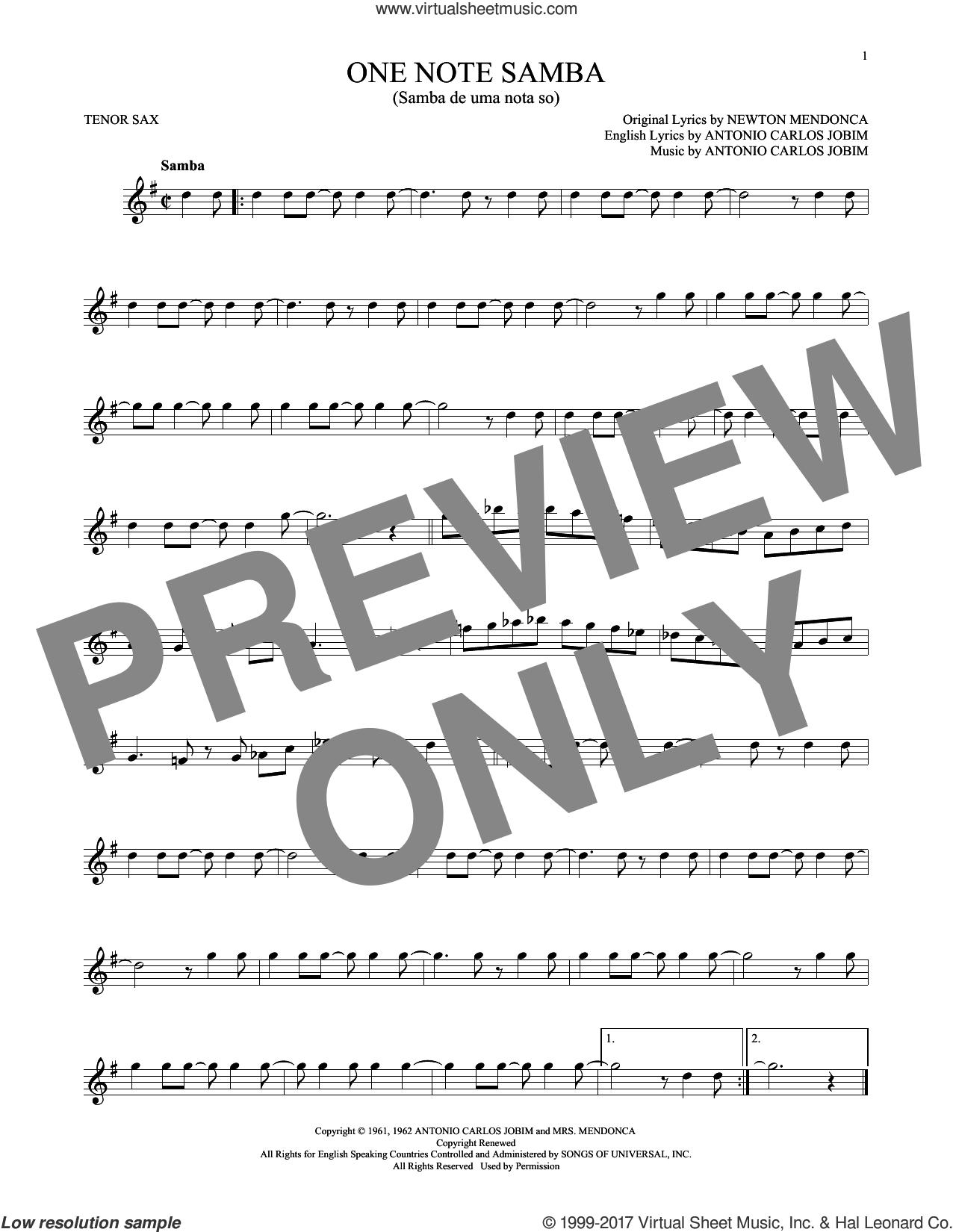 One Note Samba (Samba De Uma Nota So) sheet music for tenor saxophone solo by Antonio Carlos Jobim, Pat Thomas and Newton Mendonca, intermediate skill level