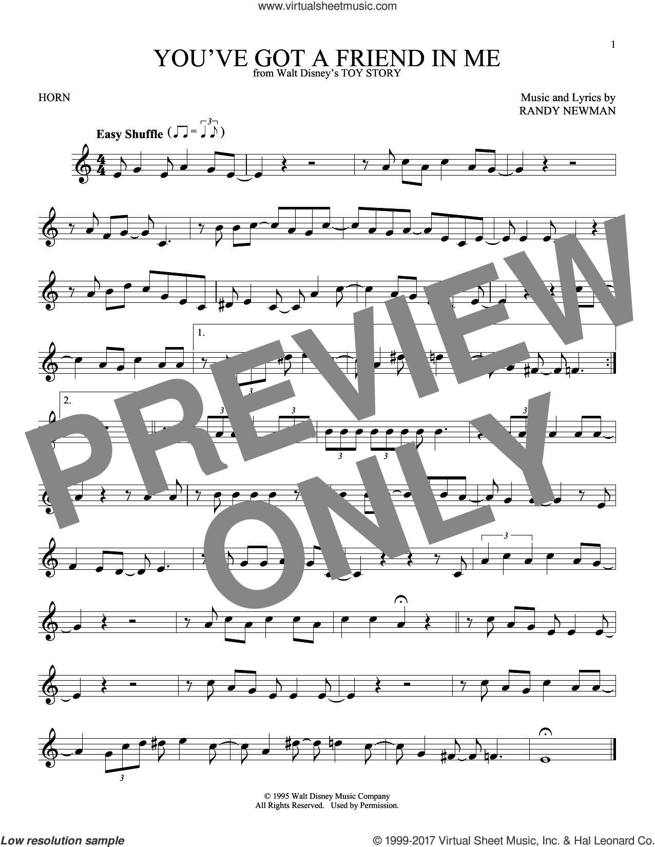 You've Got A Friend In Me sheet music for horn solo by Randy Newman. Score Image Preview.