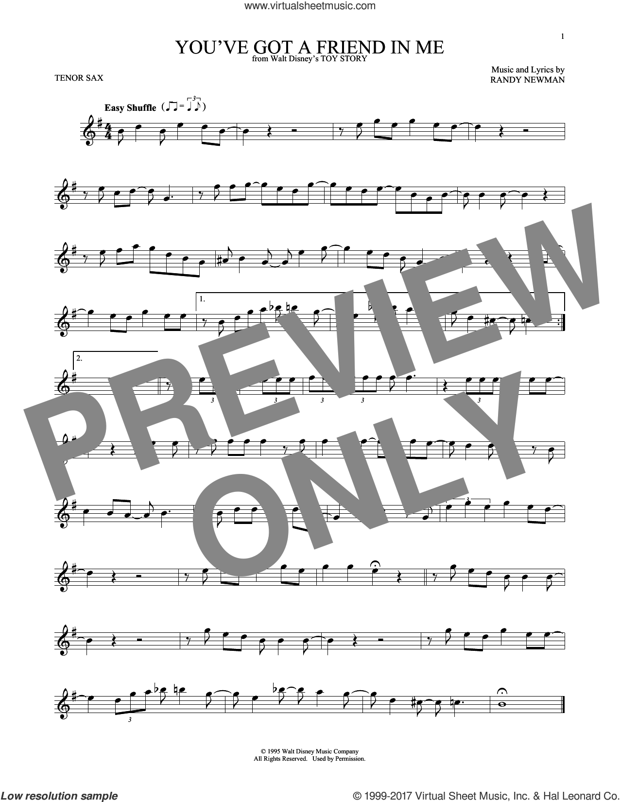 You've Got A Friend In Me sheet music for tenor saxophone solo by Randy Newman, intermediate skill level